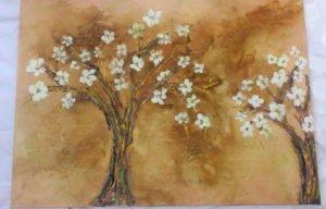 tela ramo fiorito-pittura materica-derpit-parma