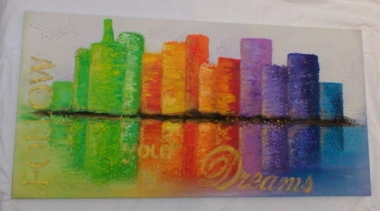 tela sky line-pittura materica-derpit-parma